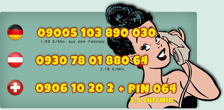 Nummern der Transsexuellen Telefonsex Schlampen für Deutschland, Österreich und Schweiz